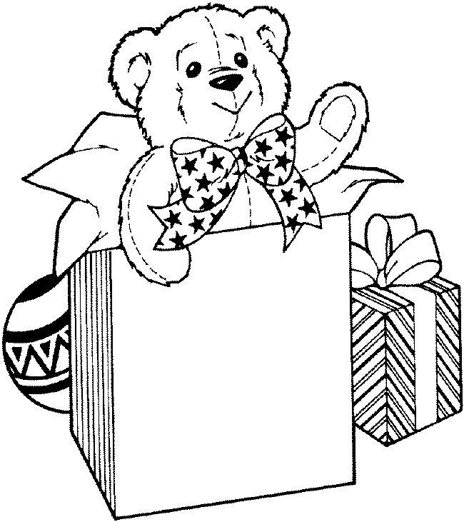 teddy bear christmas gift coloring page christmas pinterest