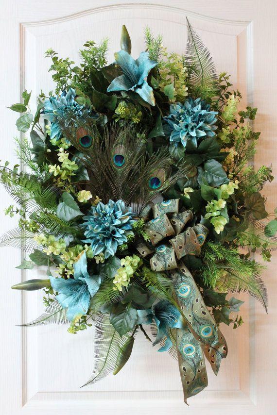 elegant spring summer door wreath beautiful peacock bow