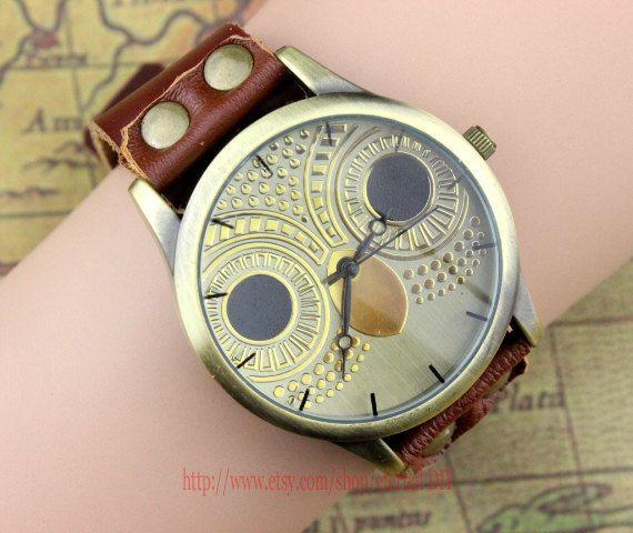 Cute owl watch handmade women s wrist watch brown leather bracelet wa