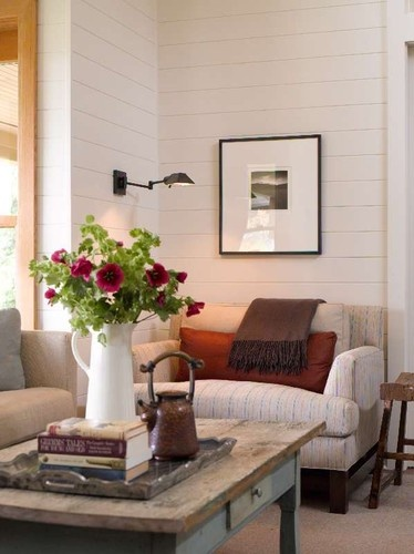wood paneling in living room