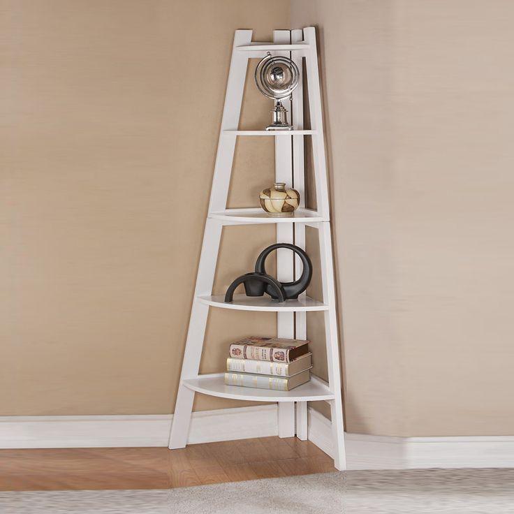 Lovely Modern Sleek Finish White Corner Shelf Bookcase