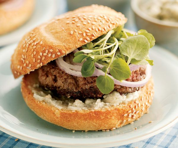 Hamburgers with Watercress & Roquefort Butter by Fine Cooking