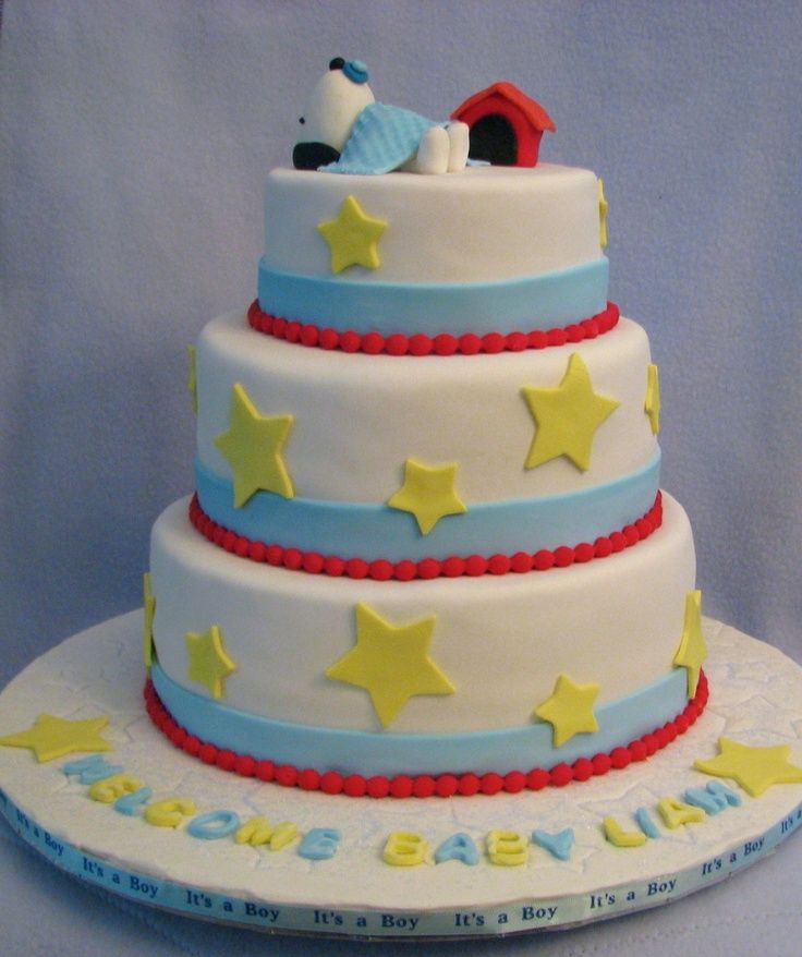 snoopy baby shower cakes