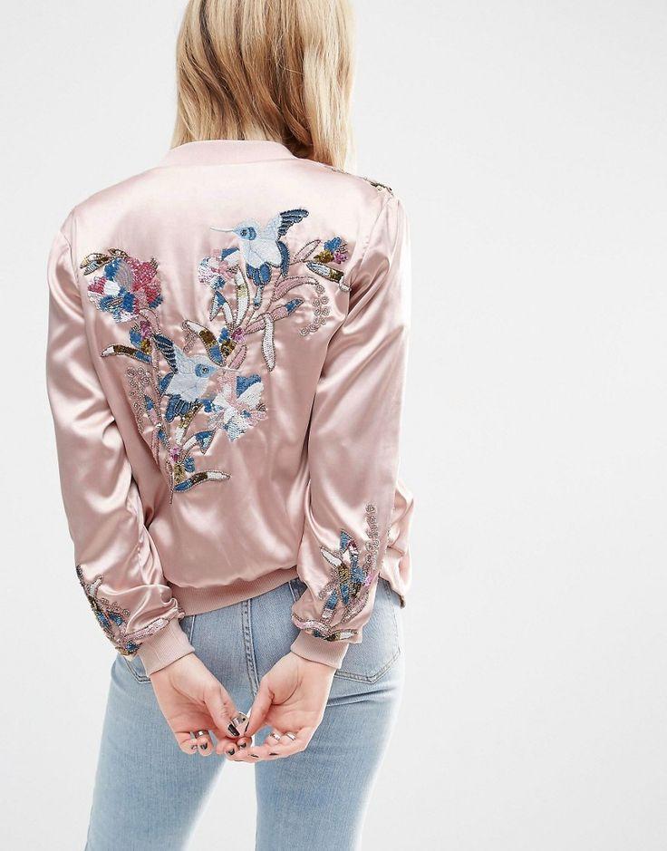 Бомбер с вышивкой розовый 96