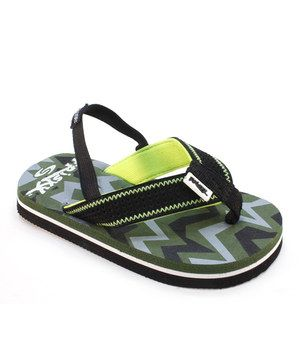 This Frisky Shoes Black & Lime Zigzag Sandal by Frisky Shoes is