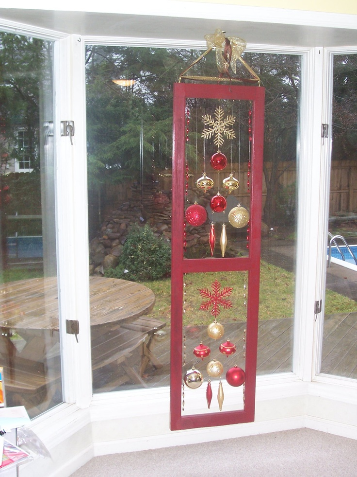 VINTAGE Wood Window Frame & Ornaments - CHRISTMAS/HOLIDAY Hanging Decorations. $125.00, via Etsy.