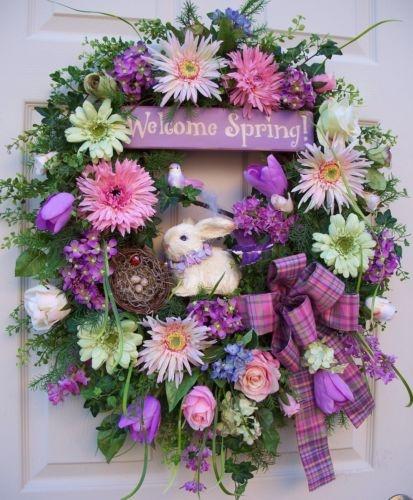 Timeless Spring Easter Wreath Bunny Bird Nest Hummingbird