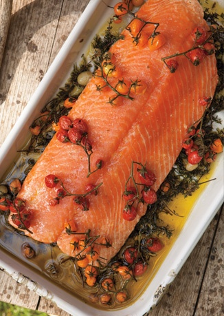 Slow-Roasted Salmon with Cherry Tomatoes and Couscous.