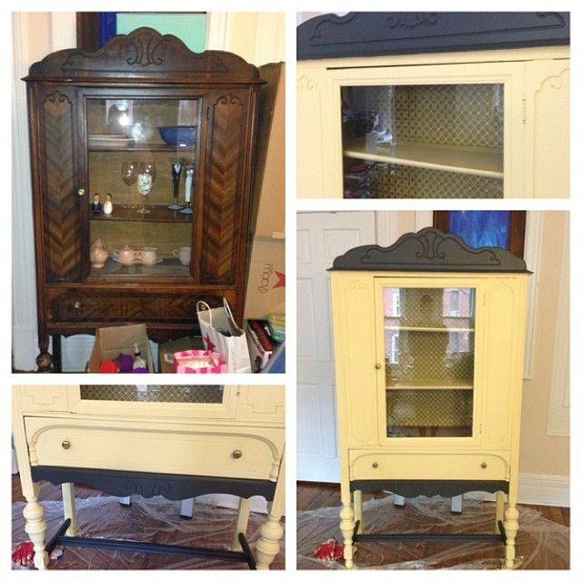 china cabinet found at housing works - with a new sunny makeover #DIY ...
