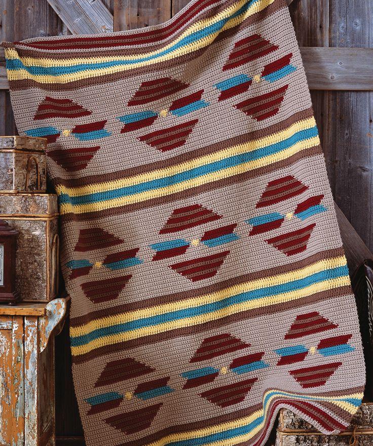 Free Crochet Pattern Navajo Afghan : Sunset Throw ~ free pattern Crochet Native,Navajo,Indian ...