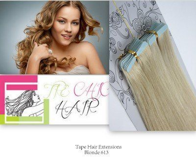 Seamless Tape Human Hair extensions. Tape extensions are re-useable