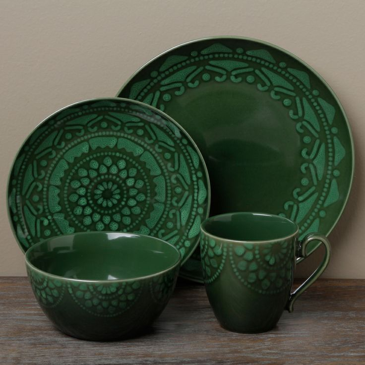 Tabletops Unlimited Morocco Green 16 Piece Dinnerware Set : dinnerware sets green - pezcame.com