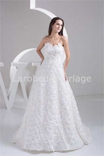 Robe de mariée la plus belle Fleur à la main A-ligne Sablier Sans ...