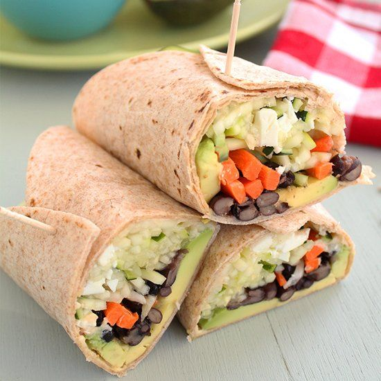 ... Wrap with Feta, Black Beans, Avocado, Carrots and Hummus. Crunchy and