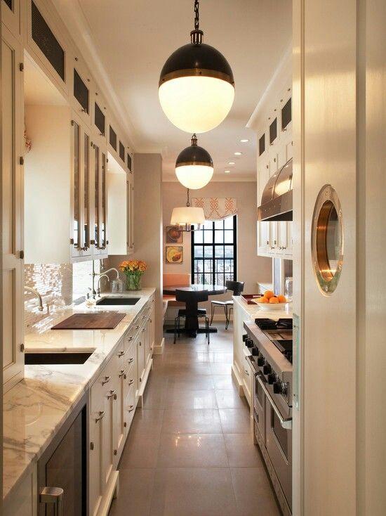 Galley kitchen design kitchen pinterest for Perfect galley kitchen