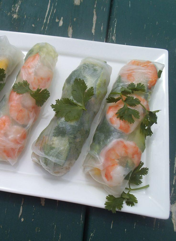 Shrimp and Chicken Summer Rolls with Thai Peanut Sauce