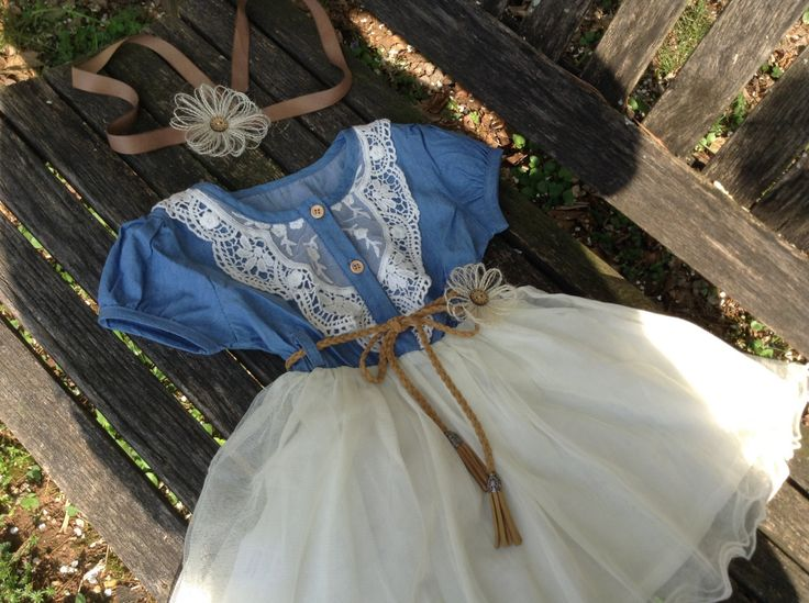 Kara s party ideas rustic country barn wedding party ideas supplies - Country Barn Wedding Flower Girl Dress Denim And Lace