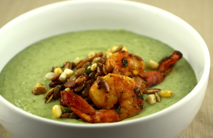 Avocado Soup with Spicy Shrimp and Chile-Lime Pepitas
