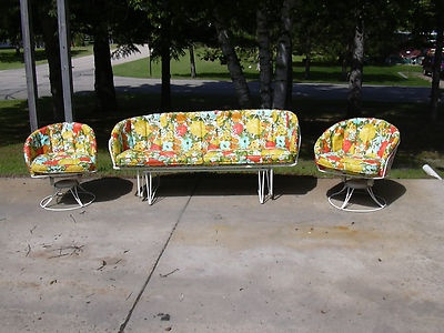 Mid Century Vintage Homecrest Patio Lawn Furniture Chairs Glider Sofa