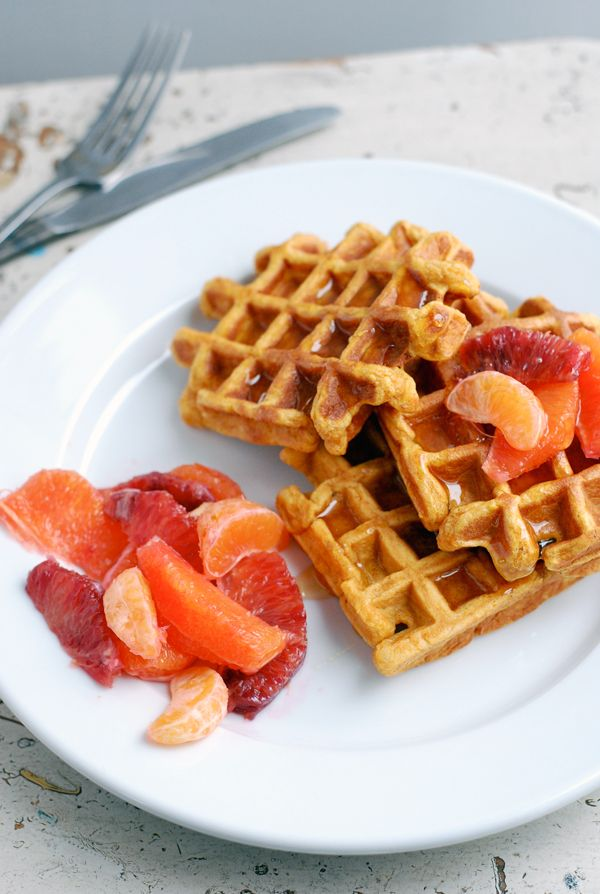 Cornmeal sweet potato waffles // brooklyn supper | Waffles ...