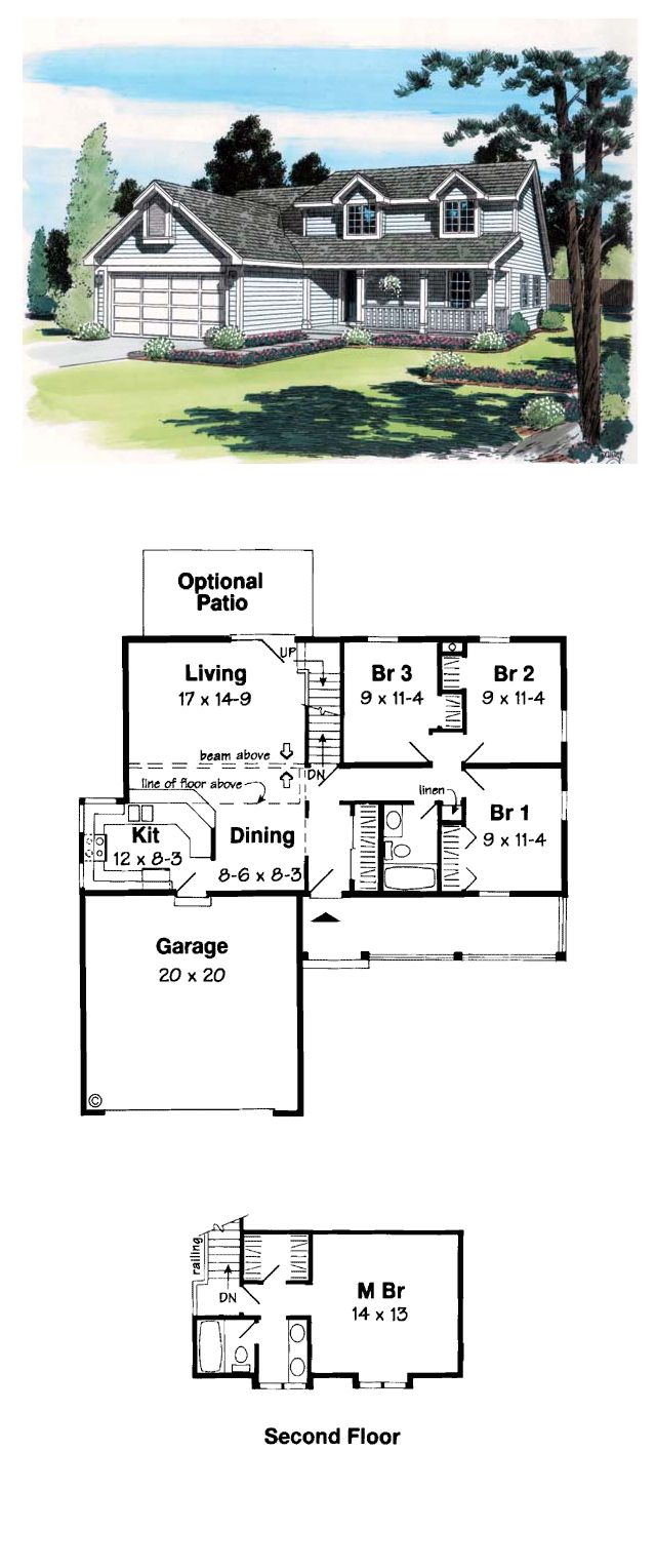 Country Farmhouse Saltbox Southern Traditional House Plan