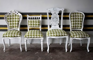 Different chairs with matching houndstooth fabric.