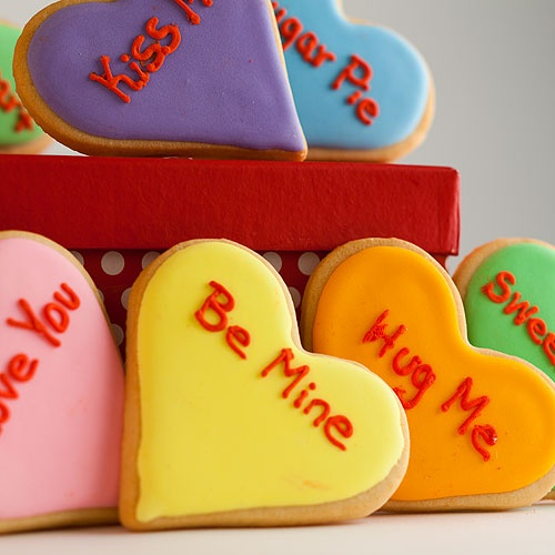 Conversation Heart Cookies | valentines day | Pinterest