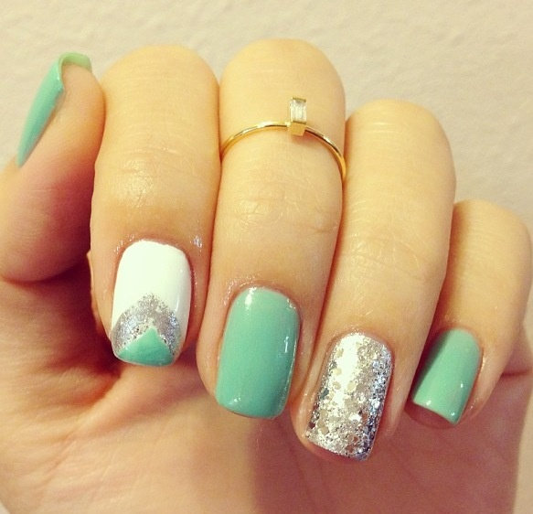 mint green and silver nails nail ideas pinterest