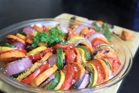 Grilled Ratatouille Salad. A healthy recipe for the grill.