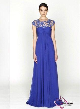 Elegant a line blue lace applique wedding dress beautiful us