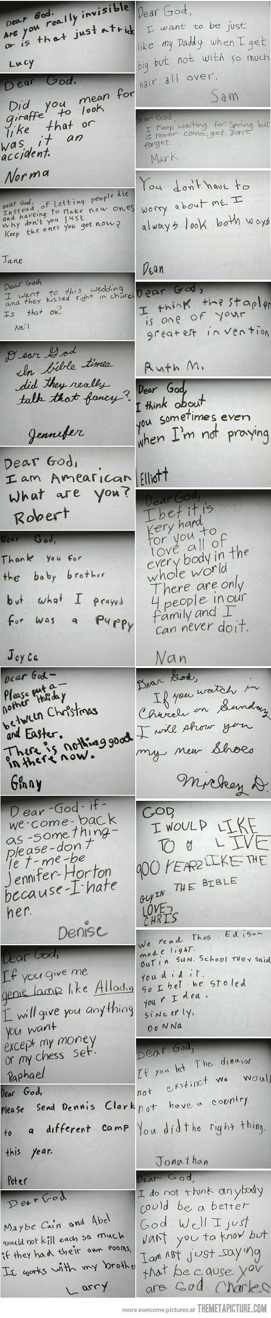 Kids were asked to write their prayers.