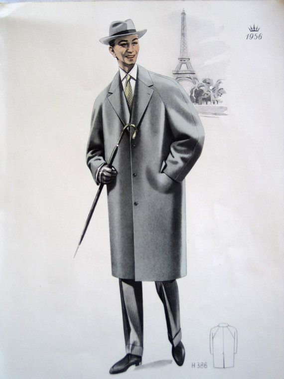 Vintage French Fabulous 1956 Mens Fashion Print From A Gents Clothing