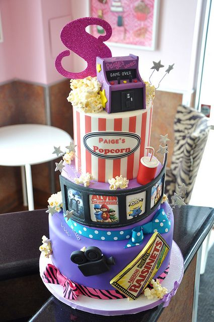 Paige's 8th Birthday Celebration Cake-Movies by thecakemamas, via Flickr