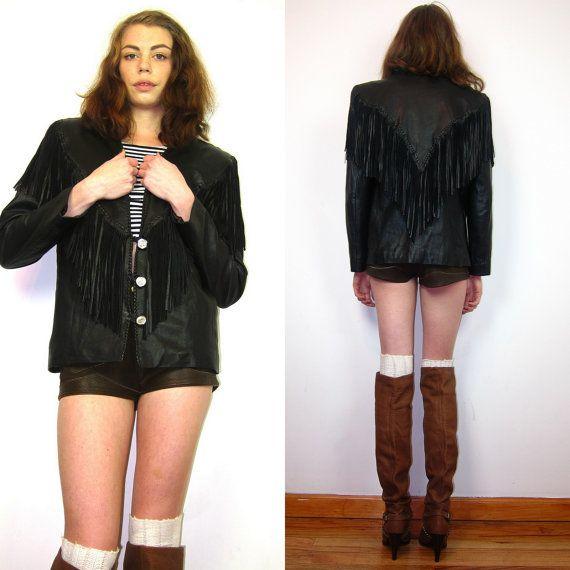 vintage 80s southwestern fringe black soft leather motorcycle jacket