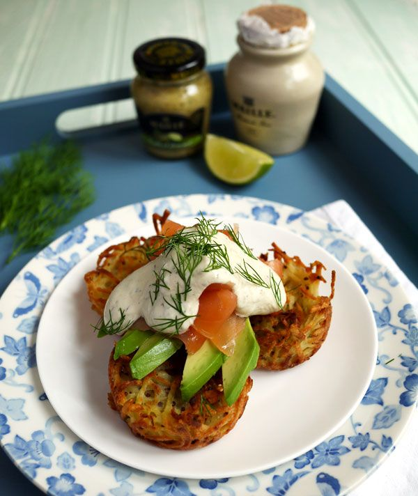 ! Oven Baked Brunch Rosti with Smoked Salmon. Mini hash browns baked ...