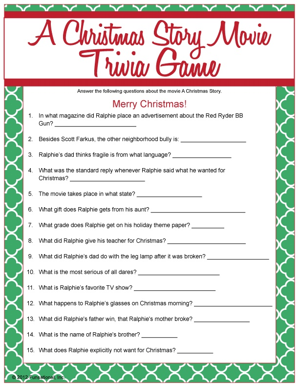 Decisive image for a christmas story trivia questions and answers printable