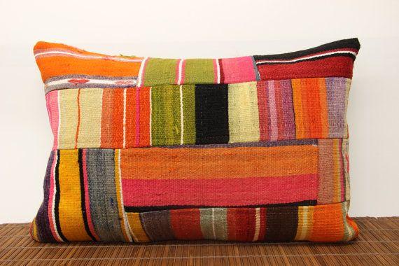16 X 24 Throw Pillow Covers : Lumbar Patchwork kilim pillow cover 16 x 24 Decorative Pillow vintage?