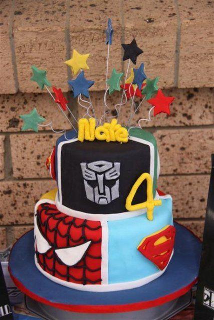Superhero/Transformer cake! #cake #superhero #transformer