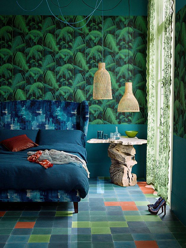 Incredible bedroom! Palm Jungle available at walnut wallpaper #wallpaper