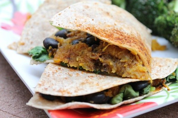 Sweet Potato, Black Bean, Spinach and Goat Cheese Quesadilla