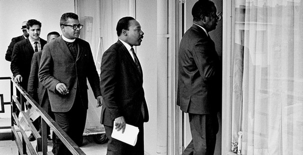 On April 3, 1968, Rev. Ralph Abernathy leads Dr. Martin Luther King Jr. and others into Room 307 at the Lorraine. 2012 is the 44th anniversary of King's death. (Barney Sellers/The Commercial Appeal Files)