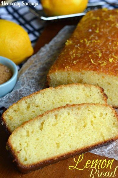 Lemon Glazed Lemon Bread - http://heavenlysavings.net/2014/04/25/lemon ...