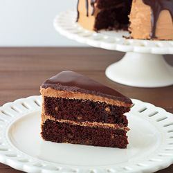 Rich chocolate cake with peanut butter & milk chocolate chips, frosted ...