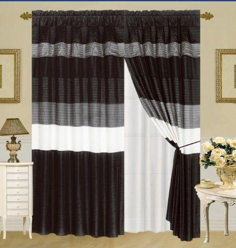 Taffeta Window Curtain / Drape Set with Sheer Backing 120-by-84-Inch ...