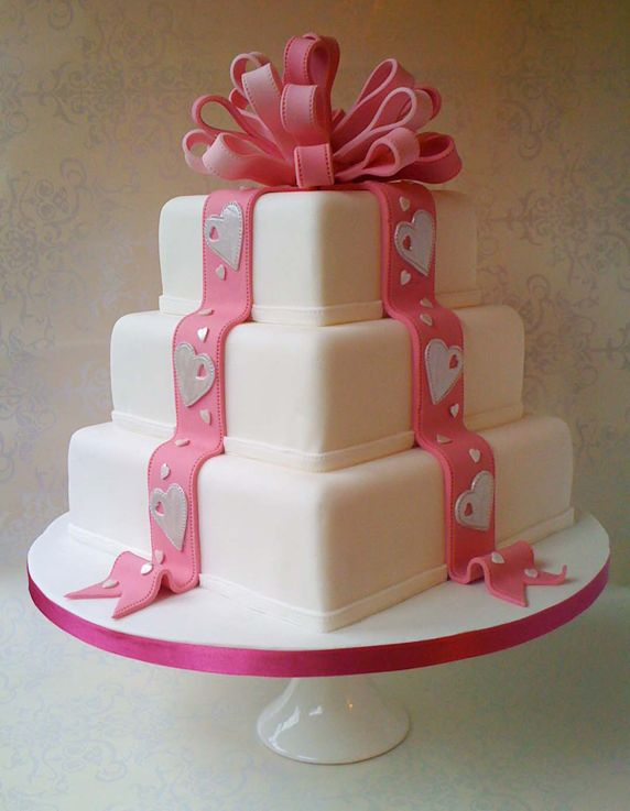 Little Ribbon Icing Pink Cake Wedding Cakes Pinterest