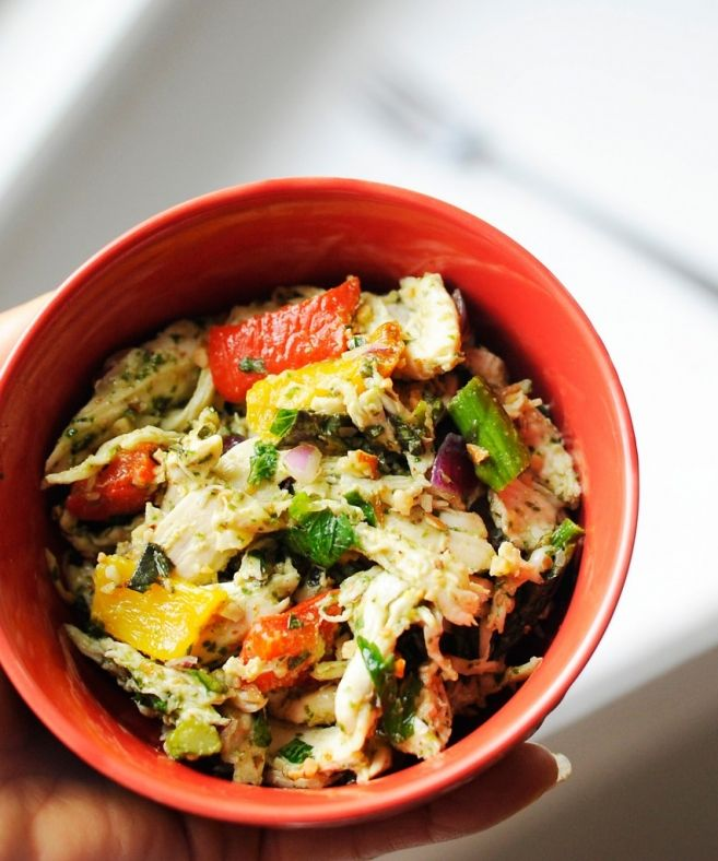 chicken salad with roasted red peppers and asparagus