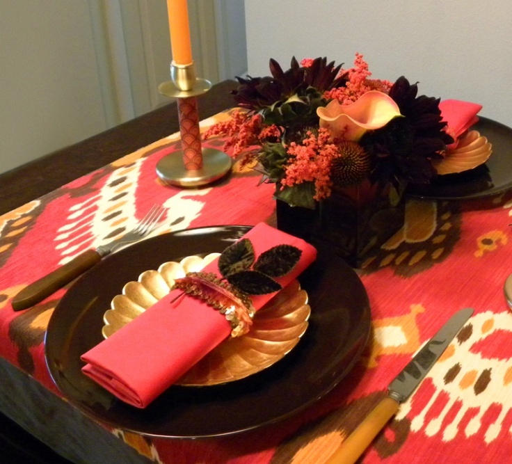 Fall tablescape created by Coco & Kelly. Love the ikat tablecloth.