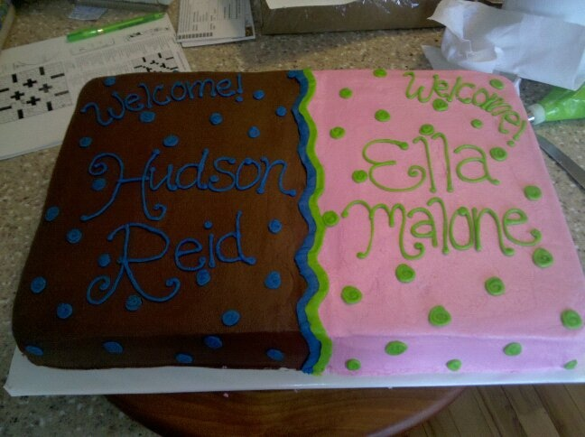 Cake Ideas For Twins Boy And Girl : Pin Halfhalf Baby Cakeg Twin Boy And Girl Cake Decorating ...