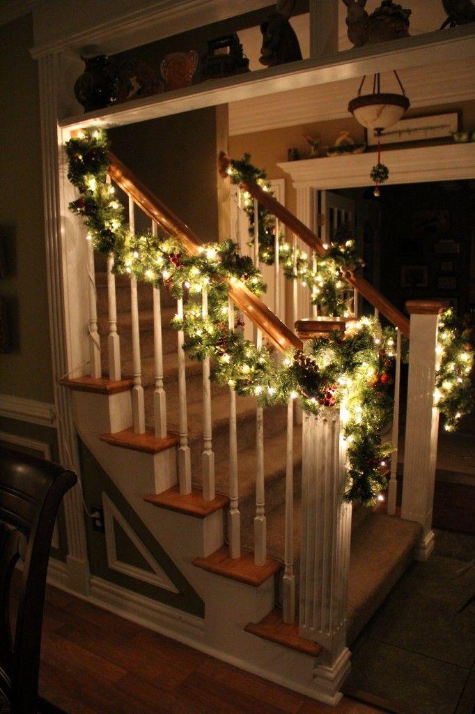 Garland draped around the banister christmas pinterest for Fresh garland on banister