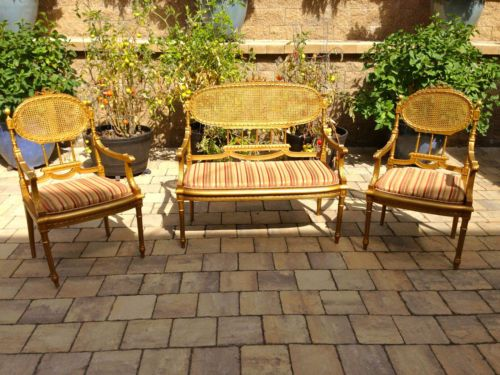 Antique French Neoclassical Salon Complete Living Room Set  Pieces